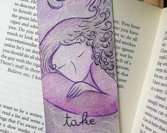 WOMANHOOD art-Divine feminine art-book lover-woman bookmark-art bookmarks-Original BOOKMARK-Take your moment-OOAK bookmark-Gioia Albano art