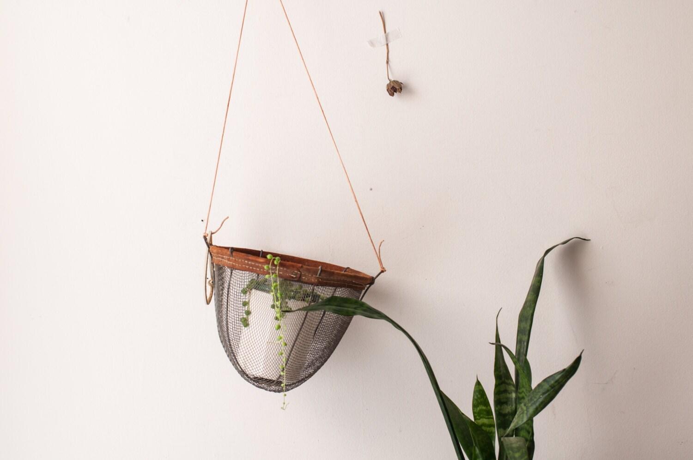 Hanging Metal And Suede Planter Basket
