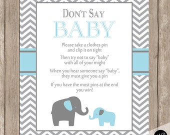 Don't Say Baby Game Sign Blue and Gray Elephant Theme - clothes pin game instant download bge1