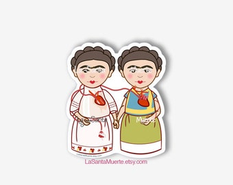 Dos Fridas Frida Kahlo sticker dos fridas painting waterproof sticker