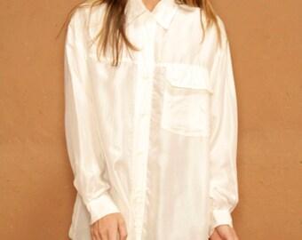 90s CREAM silk OVERSIZE long sleeve SLOUCHY front pocket shirt