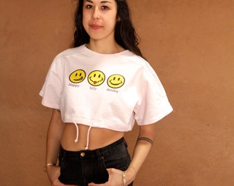 Y2K SMILEY face 90s NIRVANA style shirt vintage crop top