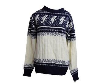 Vintage Ski Sweater Winter Skier Navy White Size Medium