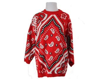Vintage Bandanna Print Sweater Red Paisley Pullover Womens Sweater Size Medium