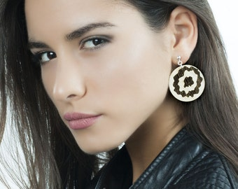 Long Earrings with a Handmade Marquetry of Natural Wood - Wooden Jewelry