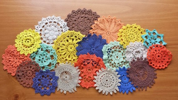 20 Hand Dyed Crochet Doilies, Orange, Blue, Green, Yellow, and Brown Craft Doilies