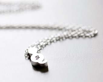 Cat Initial Necklace, Silver Cat Monogram Necklace, Lowercase Monogram Necklace, Anniversary Gift, Personalized Cat Necklace, Cat Lover