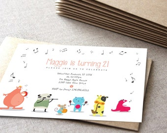 monster birthday invitation | Music theme | cute animals | Printable card | DIY shower card