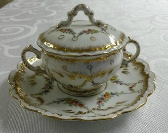 Dresden Tea Cup and Saucer; Covered Bouillon Set; Hand Painted by Franziska Hirsch circa 1893-1930     #DSC