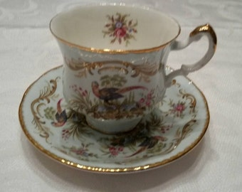 Paragon Tea Cup and Saucer; From The Antique Series Titled 'Swansea' circa 1957+  DSC