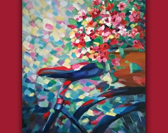 "Original Oil"" SPRING RIDE"" #OriginalOil #Painting #bike #BikeBasket #Cycle #Flowers #Impressionistic #Painting #EtsyGift #SignedByTheArtist"