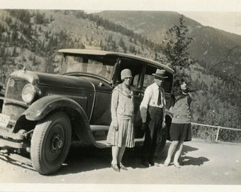 "Vintage Photo ""Taking Break from Roadtrip"" Car Travel Snapshot Antique Photo Black & White Photograph Found Paper Ephemera Vernacular - 7"