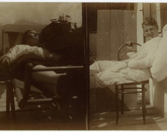 "Vintage Real Photo Postcard ""Sleepy and Smiley"" Girl Sleeping Antique RPPC Photo Black & White Photograph Paper Ephemera Vernacular - 111"