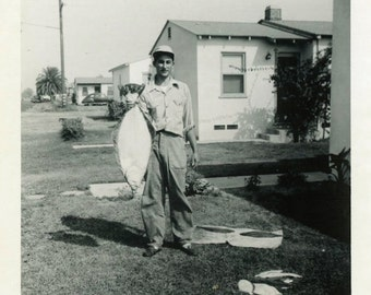 "Vintage Photo ""Phil's Flounder"" Men Fishing Snapshot Photo Old Photo Black & White Photograph Found Photo Paper Ephemera Vernacular - 107"