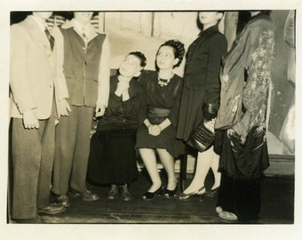 "Vintage Photo ""Their Listening Ears"" Snapshot Antique Photo Old Black & White Photograph Found Paper Ephemera Vernacular - 136"