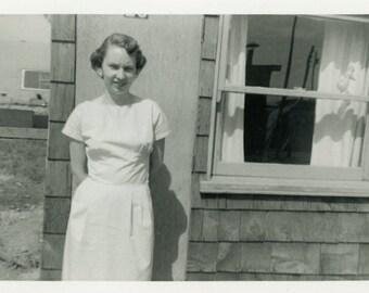 "Vintage Photo ""Laverne"" Young Woman Snapshot Photo Old Antique Photo Black & White Photograph Found Photo Paper Ephemera Vernacular - 164"