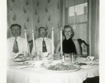 "Vintage Photo ""Candle Light at Lunch Time"" Table Snapshot Old Antique Photo Black & White Photograph Found Paper Ephemera Vernacular - 195"