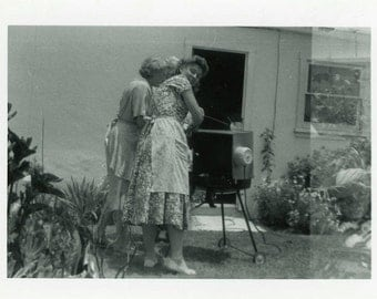 "Vintage Photo ""Outdoor Signals"" Girl Watching Television TV Snapshot Old Photo Black & White Photograph Found Paper Ephemera Vernacular - 54"