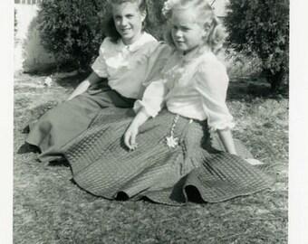 "Vintage Photo ""Skirts and Bows"" Girl Fashion Snapshot Photo Old Photo Black & White Photograph Found Photo Paper Ephemera Vernacular - 36"