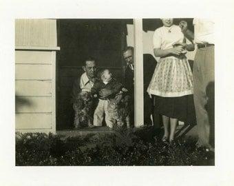 "Vintage Photo ""Family, Puppy and Mr. Kitty"" Snapshot Old Antique Photo Black & White Photograph Found Paper Ephemera Vernacular - 47"