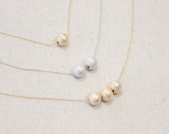 Stardust Ball Necklace, You Choose Color, Minimalist, Layering, Sparkle, Night Out