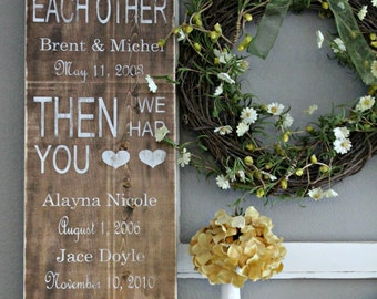 FIRST, THEN, NOW - Personalized Wood Art Sign