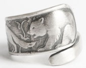 Spoon Ring Bre'r Bear, Fox and Rabbit Sterling Silver, Handmade Jewelry in Adjustable Ring Size (6101)
