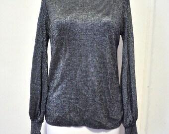 Vintage 1970's Knit Metallic Silver Turtleneck Bell Sleeves M