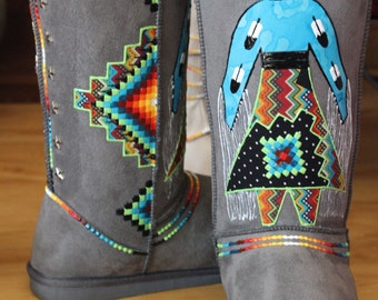 size 9 Hand Painted Boots  By  Rez Hoofz    ready to ship  Please Read full discription below