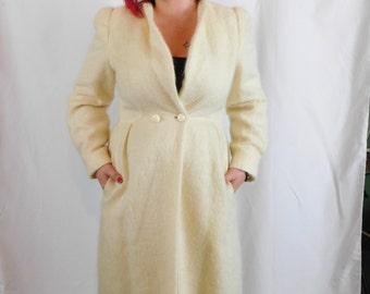 Vintage 80's Long Wool Mohair Jacket By Nipon Coature, Size Small or Medium, Princess Coat