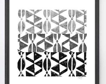 Tribal Print, Wood Block Print, 8x10 Black and White Art, Geometric Art, Ombre Art, African Decor, Black and Gray Art, Tribal Decor,