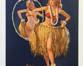vintage 1940's pinup print calendar original 'I hope the boys don't draw straws tonight' Hawaiian theme wall decor