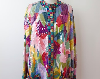 MISSONI Bright Sequin Silk Jersey Sweater