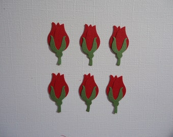 6 Red Rosebud Die Cuts  Roses Flower Bouquet Posy Embellishments for Scrapbooking Paper Crafts and Cards