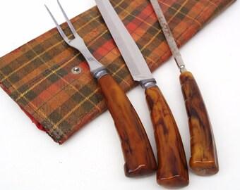 Vintage Carving Set, Cutlery, Bakelite Flatware,  Meat Fork,  Knife Sharpener,  Plaid Pouch