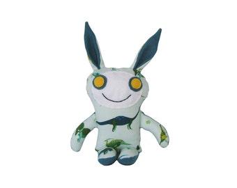 Bunny Rabbit Monster, Handmade Easter Bunny Doll, Stuffed Bunny, Plush Fabric Monster, Unique Kids Toy, Kawaii Plush, Happy Monster Drew