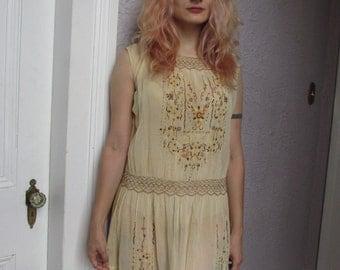 1920's Vintage Embroidered Gauze Peasant Dress