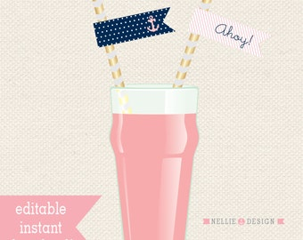 Editable Sailor Party STRAW FLAGS - Instant Download