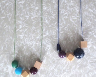 Nucleus - One Modern Minimalist Wood Necklace; Big Beads in Turquoise Navy Blue Green Purple Resin & Wood (Collier en Bois) by InfinEight