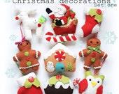 Christmas decorations set one PDF pattern, sew your own, diy, felt sewing pattern, owl, reindeer, sabta, sleigh, stocking, gingerbread, tree