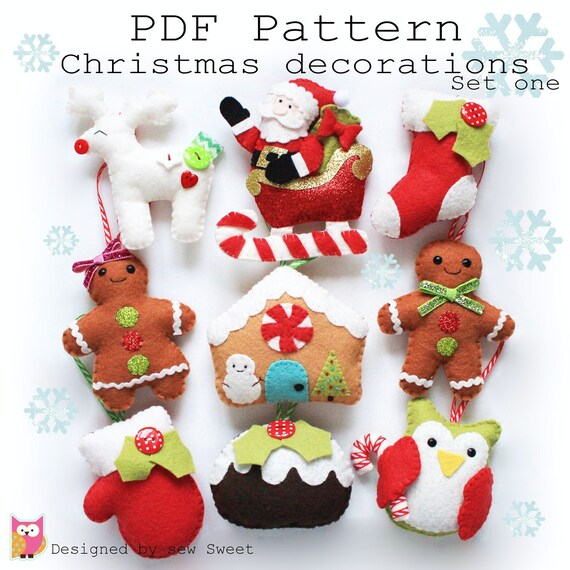 Christmas decorations set one PDF pattern sew your own diy