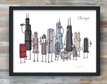 Chicago skyline art print- Chicagoland