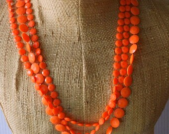Orange Bead Necklace, Vintage, Hippie Necklace, Fall Necklace, Multi Strand Necklace
