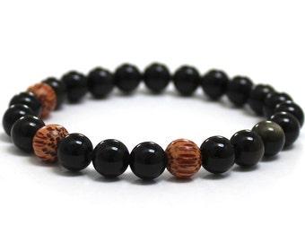 Obsidian Men Fashion Mala Beads Coconut Wood Bead Bracelet Worry Beads Boyfriend Husband Yoga Son Boyfriend Recovery Gift for Father Husband