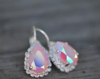 Pink Aurora Borealis Bridal Bridesmaid Earrings Estate Style Vintage Wedding Jewelry Bridesmaid Gift Under 50 Swarovski Crystal