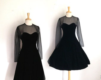 1980s does the 1950s sheer top black black full skirt party dress size 10