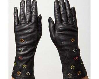 Leather gloves / Vintage black leather embroidered gauntlet gloves S