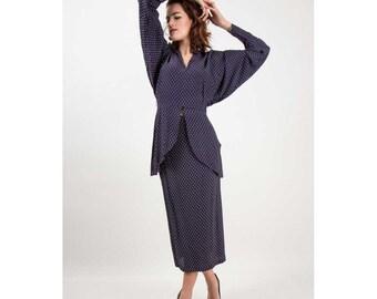 Norma KAMALI / Vintage dolman sleeve pelum blouse and skirt set / 80s does 40s M