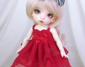 ALMOST GONE Red ruffle dress for PukiFee, Lati Yellow