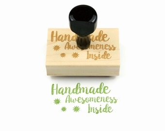 Handmade Awesomeness Inside Rubber Stamp - For the Maker Stamp - Ready To Ship / In Stock